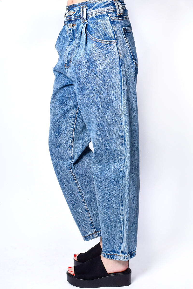 Channel Z Slouchy Pleated Acid Wash Jeans