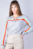 Sandra Multi Stripe Zip Pull Over Sweatshirt