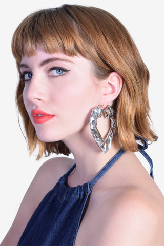I Heart U Wrapped Hoop Earrings - Silver