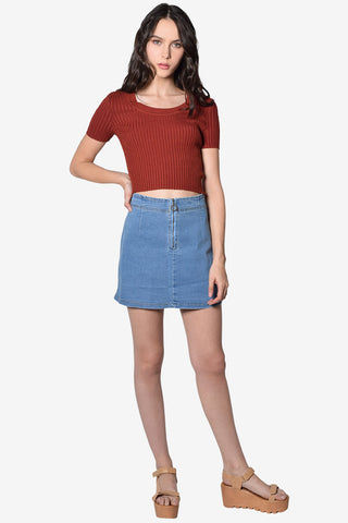 Megan Zip Front Denim Skirt - Medium Wash