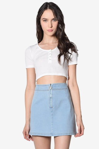 Megan Zip Front Denim Skirt - Light Wash