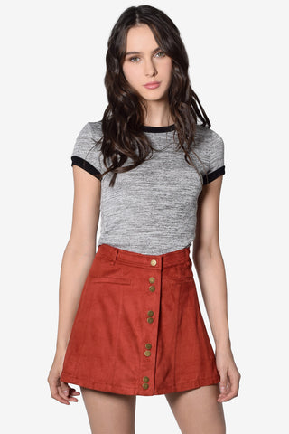 Leah Button Down Faux Suede A-Line Skirt - Rust