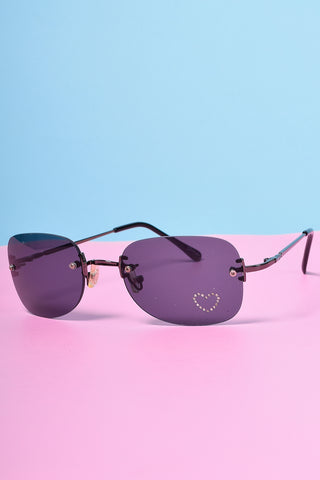 Deadstock Rectangle Jewel Heart Sunglasses - Smoke