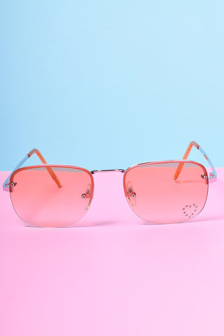 Deadstock Rectangle Jewel Heart Sunglasses - Peach