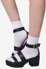 Super Sheen Ankle Socks - White