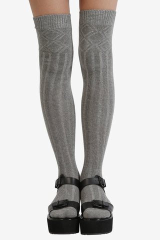 Grey Cable Knit Thigh High Socks