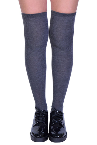 Charcoal Grey Thigh High Socks