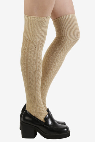 Tan Cable Knit Thigh High Socks