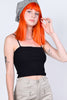 Square Neck Crop Tank -  Black