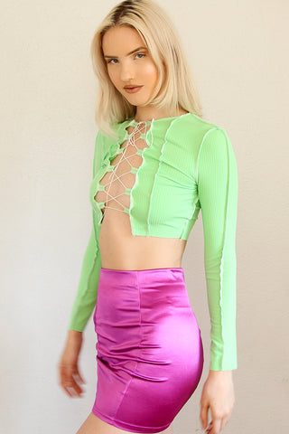 Stockholm Reverse Stitch Lace Up Top - Lime
