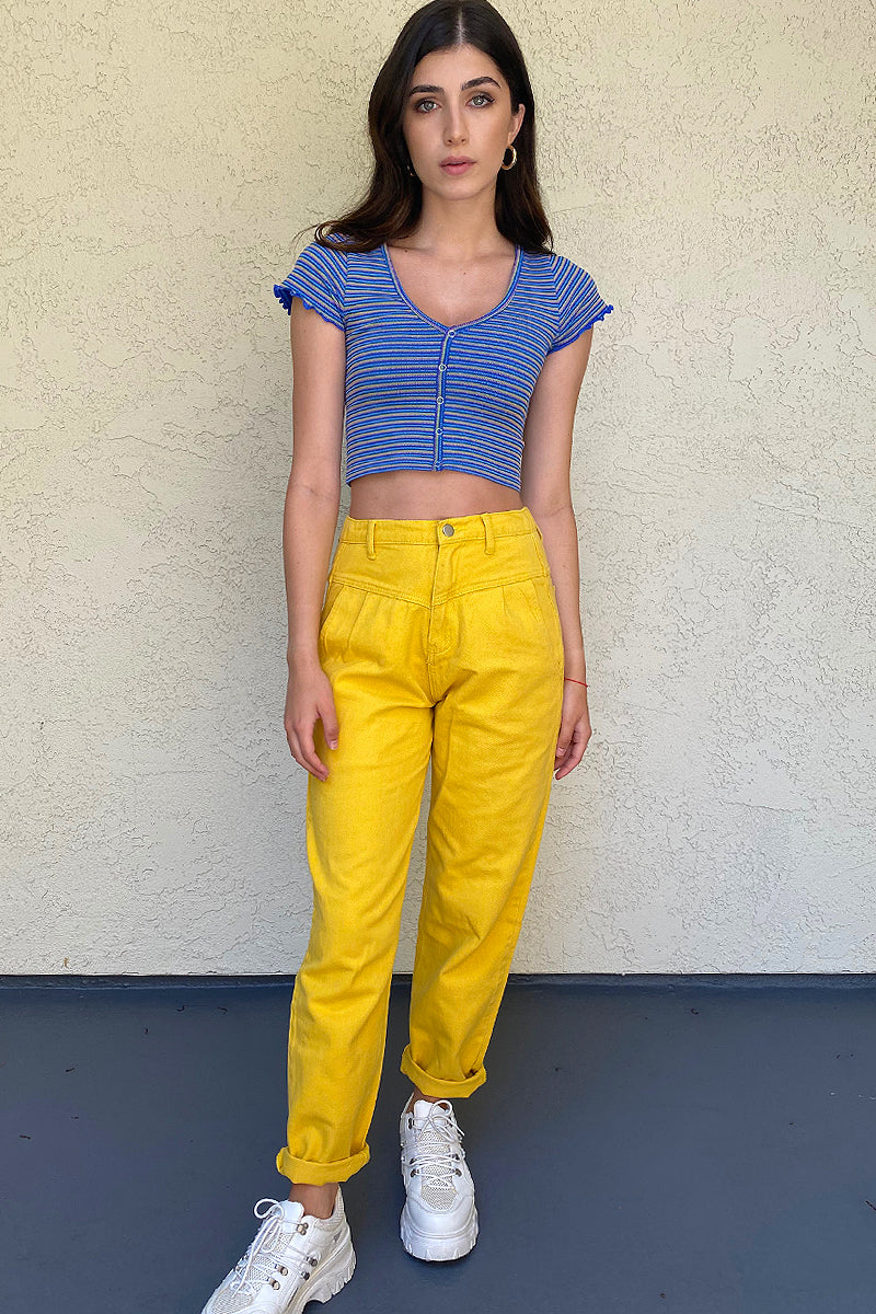 Dating Around Pleated Pegged Pants - Yellow