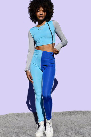 Blue Lexicon Reverse Stitch High Rise Leggings
