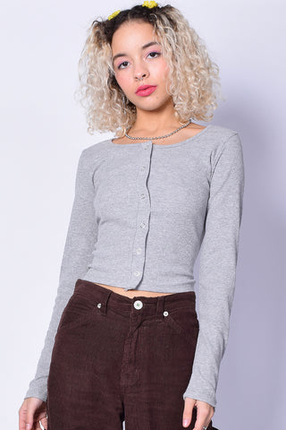 Smooth Talker Snap Top - Heather Grey