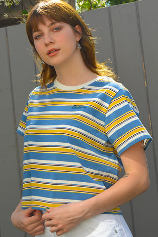 Blue Tomboy Boxy Stripe Tee by Dickies Girl