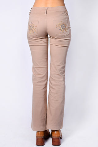 Deadstock Taya Rhinestone Pocket Flares - Tan