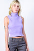 Delany Sleeveless Ribbed Turtleneck - Lilac