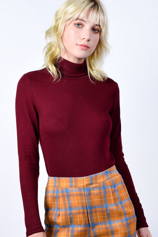 Corrigan Ribbed Turtleneck - Merlot