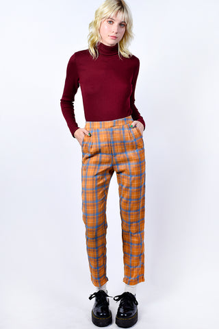 Galloway Plaid Trouser - Mustard