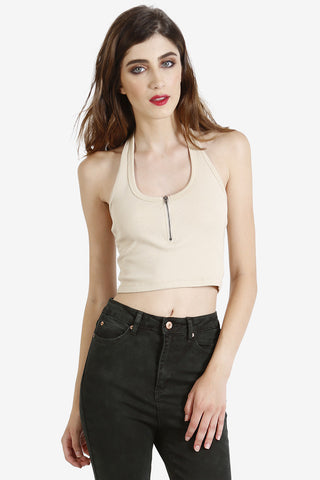 Zip It Up Crop Top - Taupe