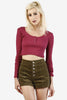 Cropped Henley Long Sleeve - Berry
