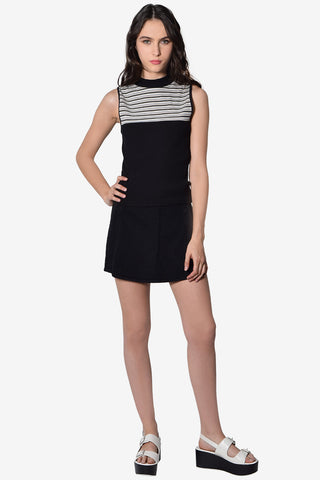 Delia Striped Mock Neck Top