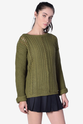 Roll Over Holed Out Sweater - Moss Green