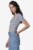 Snap Closure Stripe Basic Crop
