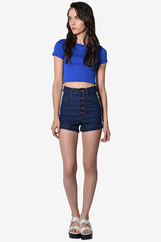 Downtown Basic Crop Tee - Royal Blue
