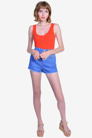 Henley Button Top Tank - Tomato