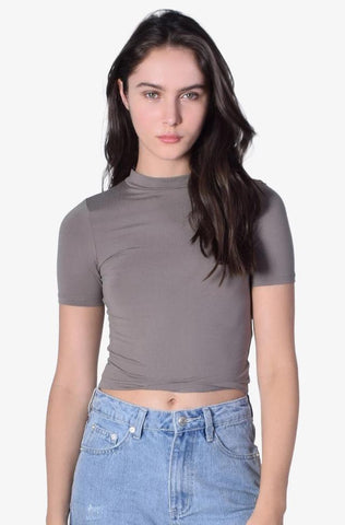 Uptown Mock Neck Top - Taupe