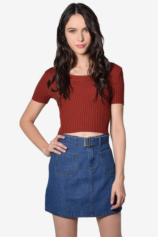Tilda Ribbed Knit Top - Rust