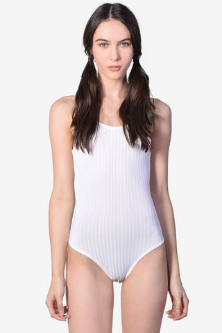 Ribbed Tank Leotard - White
