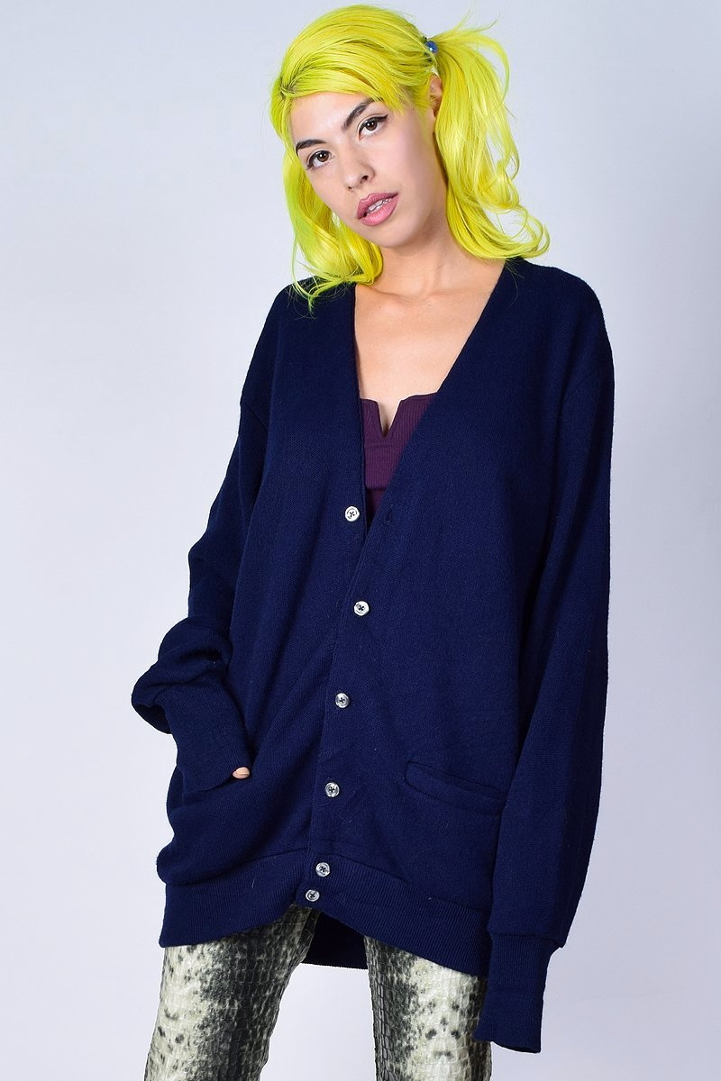 ECH Vintage Oversized Navy Knit Cardigan