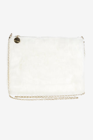 Fur Zipper Clutch - Snow White