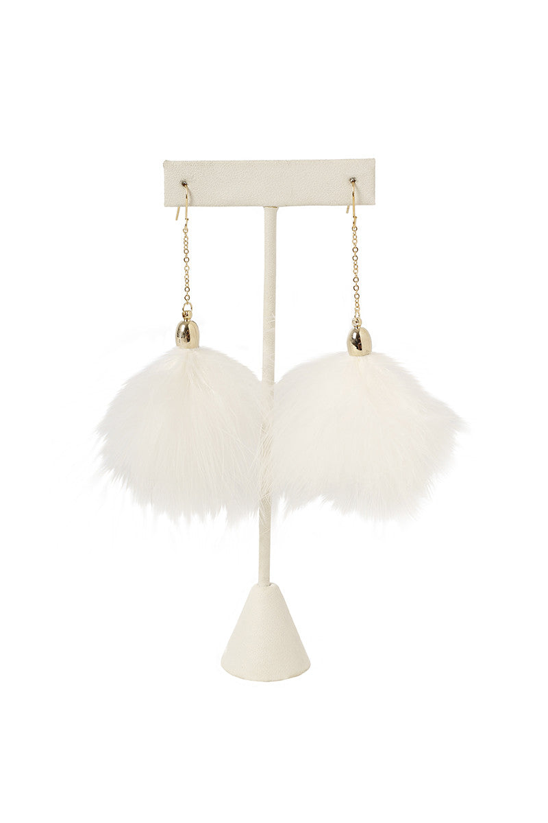 Fuzzy Pom Pom Earrings - White