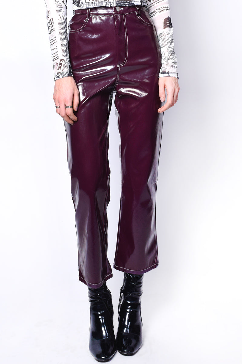 Angelina Patent Plum Crop Pants