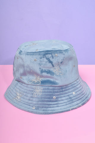 Velvet Kayla Butterfly Bucket Hat - BB Blue