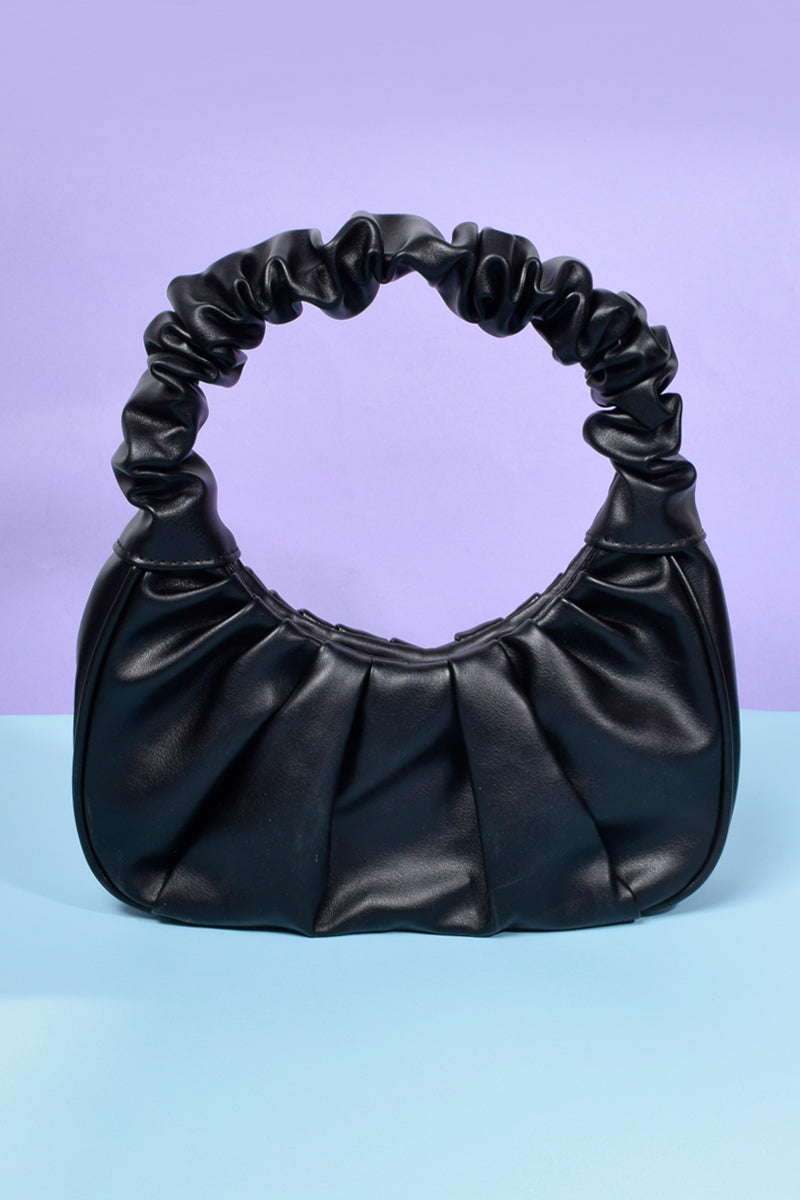 Lola Gathered Handle Mini Bag - Black