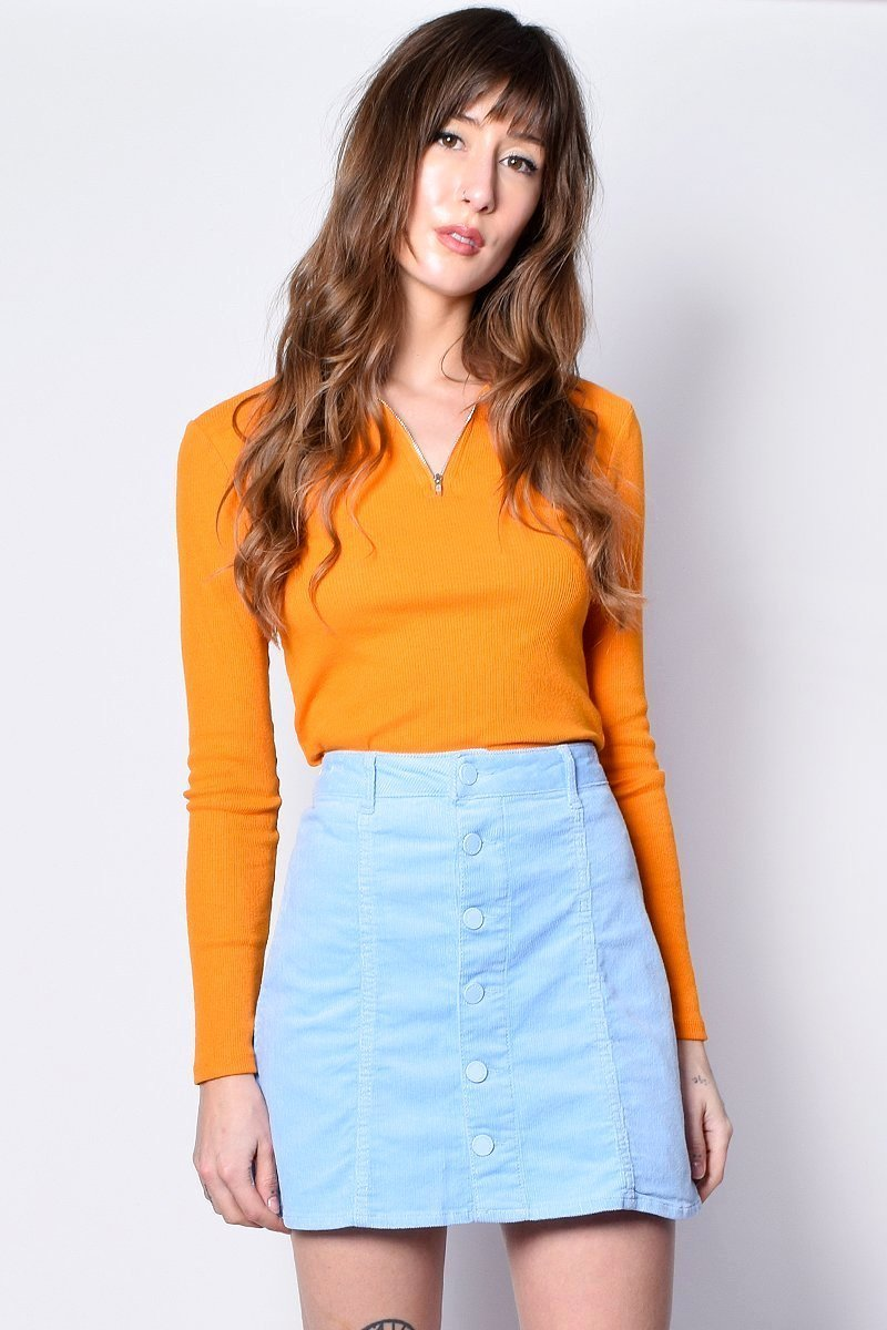 Corduroy Baby Blue A-Line Skirt