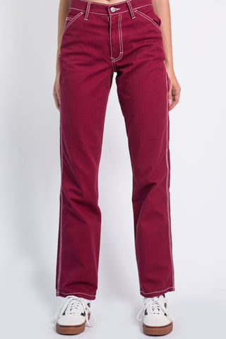 Burgundy Relaxed Carpenter Pants by Dickies Girl