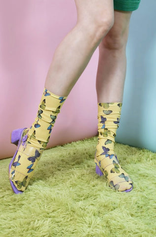 Yellow Butterfly Print Socks