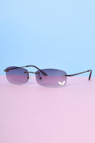 Butterfly Babe Decal 90s Deadstock Sunglasses - Smoke