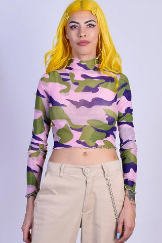 Bel Air Mesh Camo Mock Top