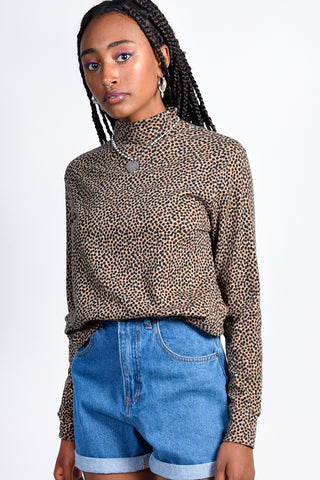ECH Vintage Cheetah Mock Neck Top
