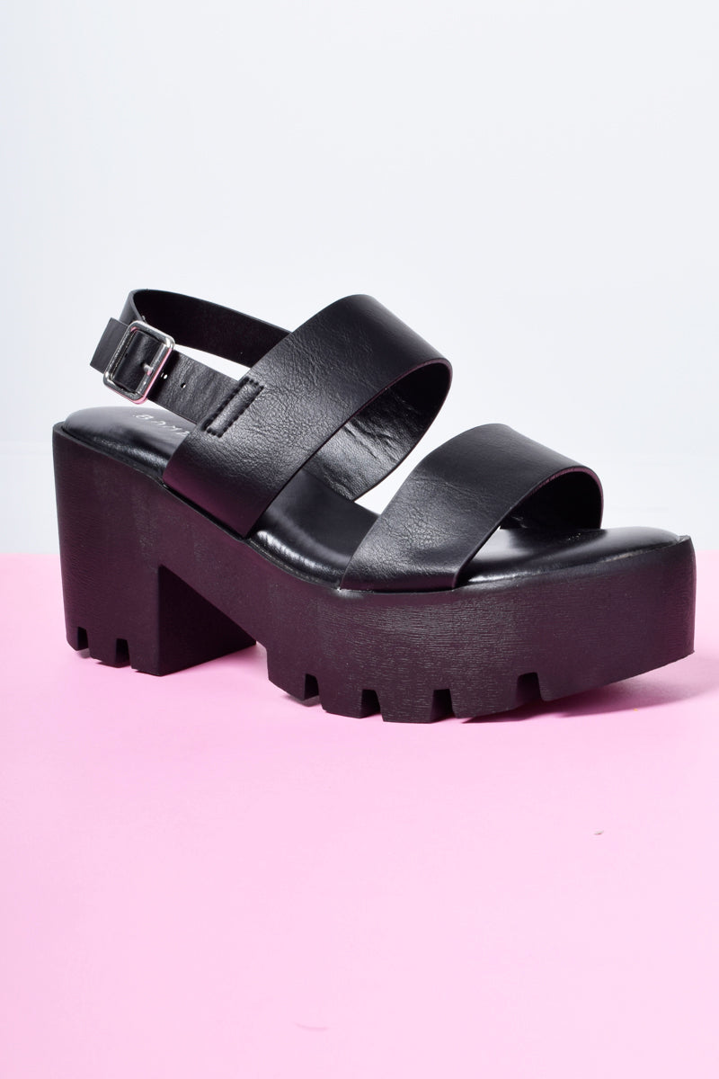 Copy Cat Chunky Platform Sandal - Black