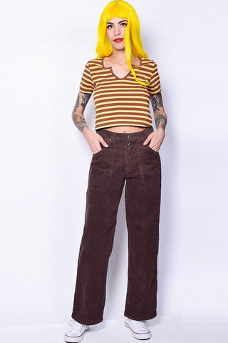 Deadstock Corduroy Wide Leg Pants - Brown