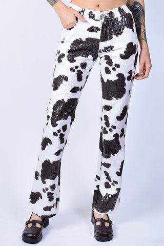 Deadstock Cow Print Flare Pants