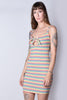 Danna Front Tie Rainbow Stripe Dress