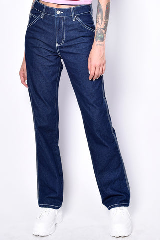 Dark Denim Relaxed Carpenter Jeans by Dickies Girl