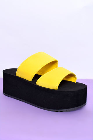 See You Never Platform Sandals - Lemon